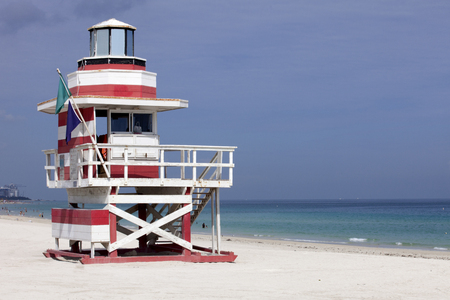 A Miami Beach LifeGuard Stand shaped like a lighthouse photo