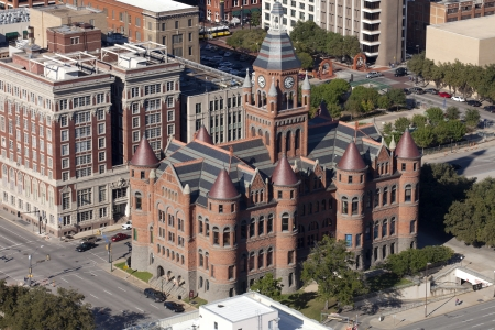 gargoyles: Aerial view of the Old Red Courthouse in downtown Dallas is a fine example of the courthouse-building fervor that swept through Texas in the 1880s and 1890s  In an imposing Romanesque with turrets and gargoyles  actually wyverns   Stock Photo