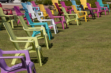 Colorful plastic Adirondack chairs in a park Stock Photo - 25917137 & Colorful Plastic Adirondack Chairs In A Park Stock Photo Picture ...