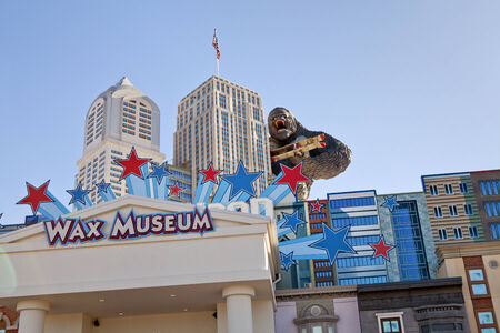 fasade: The Hollywood Wax Museum is a unique landmark and major tourist attraction in Pigeon Forge, Tennessee  The fasade of the building has the New York skyline with King Kong holding a biplane