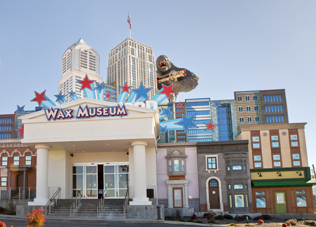 The Hollywood Wax Museum is a unique landmark and major tourist attraction in Pigeon Forge, Tennessee  The fasade of the building has the New York skyline with King Kong holding a biplane
