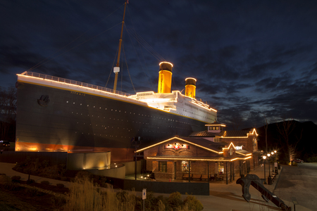 titanic: The Titanic Museum is a unique landmark and major tourist attraction in Pigeon Forge, Tennessee  The facade of the building resembles the world�s most famous luxury liner, RMS Titanic   Editorial