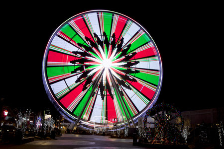 thrilling: Ferris Wheel in Pigeon Forge, Tennessee during the Christmas Holidays taken at night with long exposure