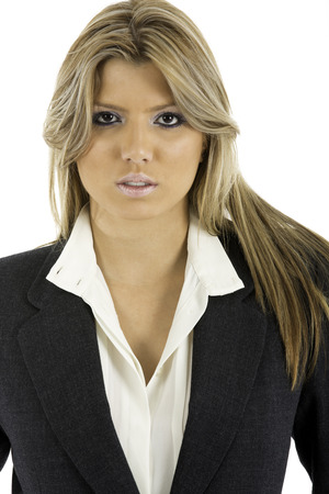 unbutton: Pretty woman in a business suit jacket , looking at camera  Shot on white background
