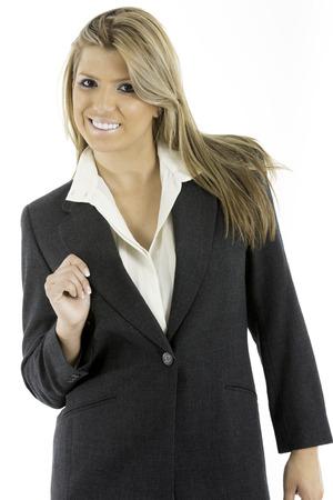 traje sastre: Mujer bonita en una chaqueta de traje de negocios, mirando a la c�mara Foto de archivo