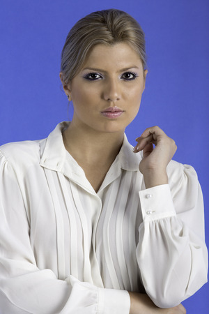 partly: Sexy woman wearing a white shirt and panties, partly nude Stock Photo