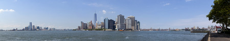 freedom tower: Panoramic of lower Manhattan in New York City showing the new World Trade Center Freedom Tower,  Summer 2014  7 pictures were used to make this large panpramic image