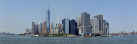freedom tower: Panoramic of lower Manhattan in New York City showing the new World Trade Center Freedom Tower,  Summer 2014  3 pictures were used to make this large panpramic image