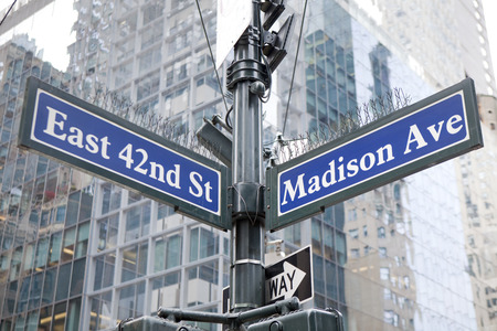 42nd: Famous street sign in Street sign in Manhattan - Madison Avenue and East 42nd Street