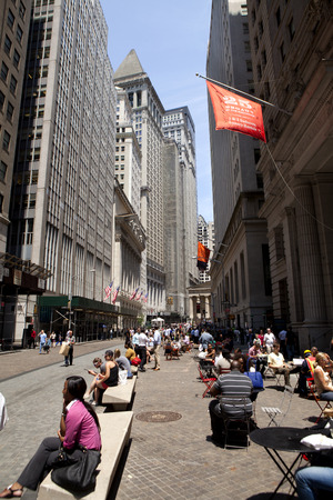 new york stock exchange: The New York Stock Exchange area in the financial district in lower Manhattan in New York City  Editorial