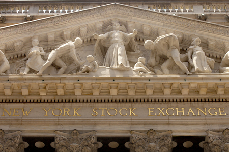 The New York Stock Exchange building on Wall Street in the financial district in lower Manhattan in New York City.