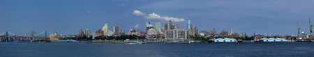 the bigger picture: Panoramic of the skyline of Brooklyn, New York on the east River.  Brooklyn and Manhattan Bridge (Left) Downtown Brooklyn (center) and commercial cocks (right)  7 pictures were used to make this large panoramic image