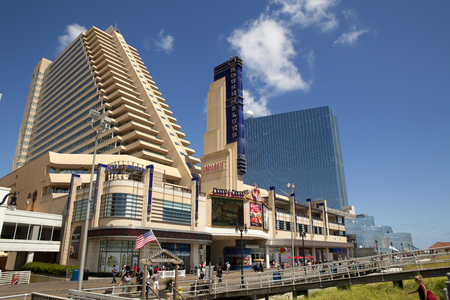 revel: The Showboat Casino with the Revel Casino behind it in Atlantic City, New Jersey. Both of the Casinos will be closing in September of 2014
