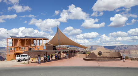 Visitor center at Guano Point, along the western rim of the Grand Canyon. The area is named for the Bat Cave guano mine that contained an large accumulation of guano that was harvested to be used as fertlizer.