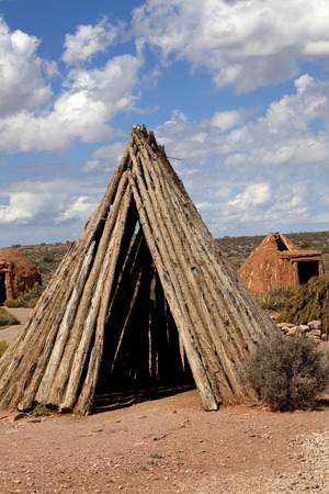 plains indian: Different types of sweat lodges builted by Native Americans who live in the mountains of northwestern Arizona, United States.