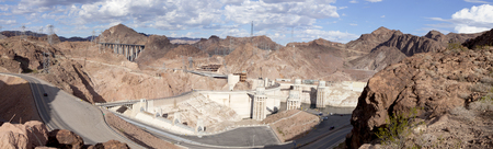 hoover dam: Hoover Dam and Lake Mead  3 pictures were used to make this large panoramic image Stock Photo