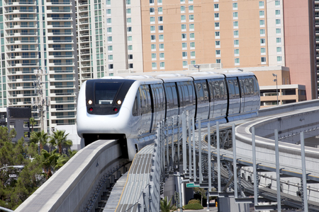 Public transportation with an electric monorail train system Stock Photo
