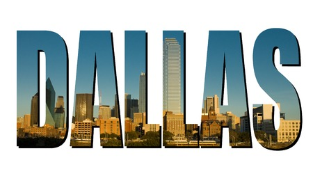 The word Dallas made from a daytime photograph of Dallas Texas.