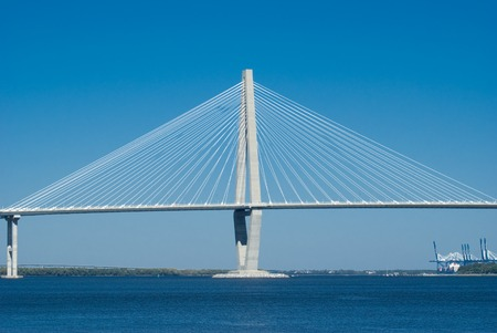 cooper: Scenic View of the Cooper River Bridge and marina in Charleston, South Carolina