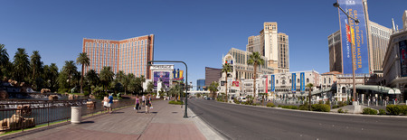 royale: Panoramic view of the famous Las Vegas Strip area showing from ledt to right: Mirage, Treasure Island, Fashion Show Mall, Stratosphere (tower), Encore , Wynn, Casino Royale, Palazzo and Venetian Hotels and Casinos  8 pictures were used to make this large