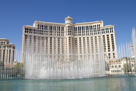 las vegas metropolitan area: Fountains at the Bellagio Casino and Hotel in Las Vegas, Nevada. More than 1,000 fountains dance in front of the hotel every half hour during the day and every 15 minutes, nightly, enhanced by music and light. Water shoots as high as 245 feet in the air