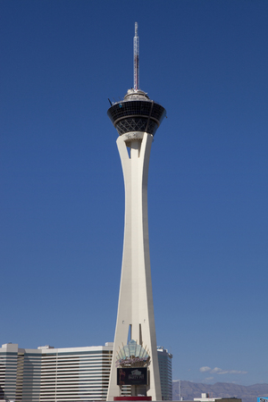 Looking up at the 1,149 ft tall Stratosphere Tower. The tower is the tallest freestanding observation tower in the United States. Editorial