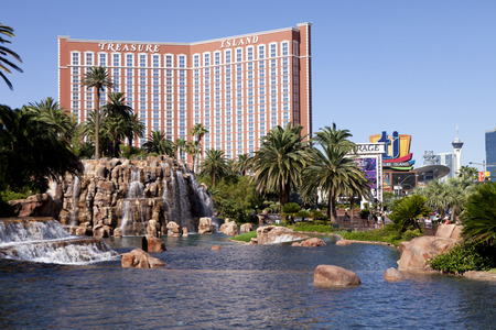 forground: Treasure Island Hotel and Casino Las Vegas, Nevada with the lake at the Mirage in the forground Editorial