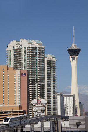 stratosphere: Looking up at the 1,149 ft tall Stratosphere Tower located as the northern end of the Las Vegas strip. The tower is the tallest freestanding observation tower in the United States.