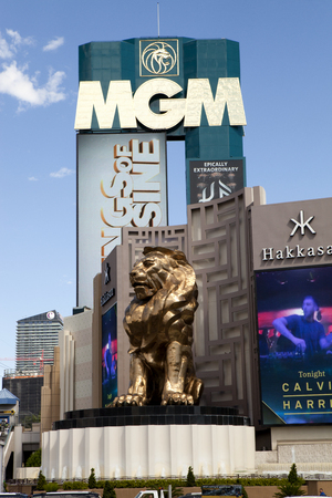 las vegas metropolitan area: MGM Grand Las Vegas resort featuring Leo , the MGM lion. The hotel and casino complex is located on the Las Vegas strip.