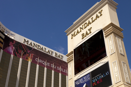 Mandalay Bay Casino and Hotel luxury resorts in Las Vegas. Mandalay Bay Resort and Casino is located at the southern end of the Las Vegas Strip. It features stylish high-end atmosphere, modern decor and luxurious rooms.