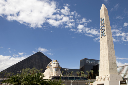 Luxor Hotel and Casino located on the southern end of Las Vegas Blvd has the form of an Egyptian pyramid at the entrance stands a large statue of the Sphinx