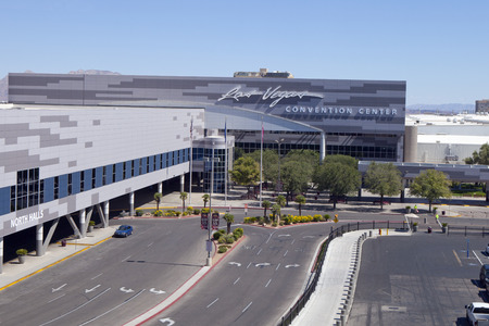 Low aerial view of the main enterance to the Las Vegas Convention Center located just east of The Strip and south of the downtown area. The Vegas Convention Center bost of being the largest single-level convention center in the world.