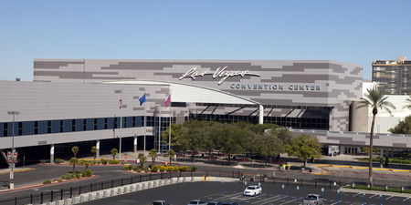 Low aerial view of the main enterance to the Las Vegas Convention Center located just east of \