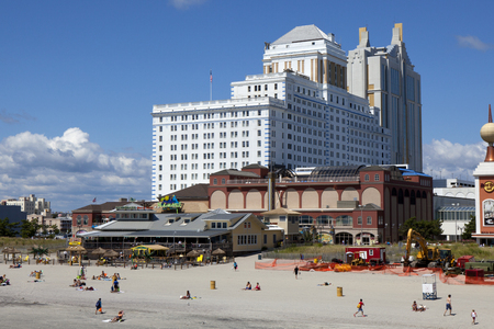 atlantic city: The Resorts Hotel and Casinos with Jimmy Buffetts Margaritaville restaurant on the beach in Atlantic City, New Jersey Editorial