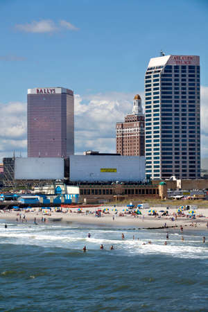 anice: View of the beach, boardwalk and casinos along the ocean front of Atlantic City, New Jersey during anice summer day.