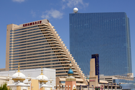 revel: The Showboat Casino with the Revel Casino behind it in Atlantic City, New Jersey. Both of the Casinos closed in September of 2014 due to economic downturn in the comunity. Editorial