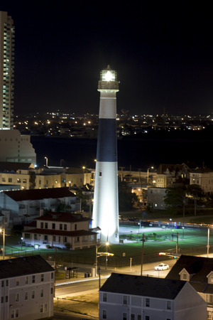 atlantic city: Aerial view of the Absecon Lighthouse at night in Atlantic City, New Jersey