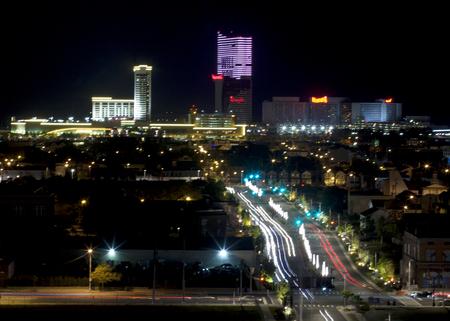back bay: Back bay and marina district of Atlantic City, New Jersey at night with Golden Nugget Casino, Harrah\\ Editorial