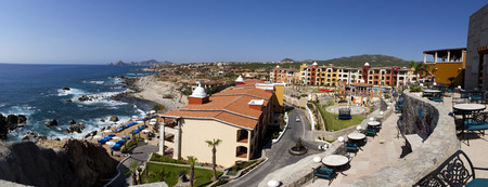 Panoramic view of Cabo San Lucas, Mexico. Lands end can be seen in the far background.  9 pictures were used to make this large image photo