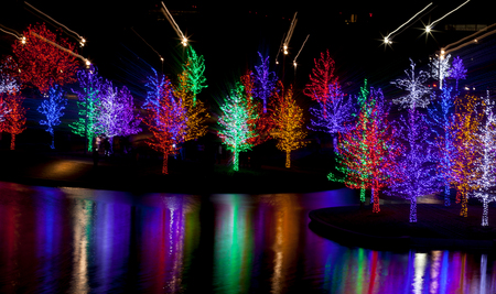 long lake: Abstract of trees tightly wrapped in LED lights for the Christmas holidays reflecting in lake. Each tree is wrapped in one color.  Camera zoom use to produce light streaks on long exposure Stock Photo