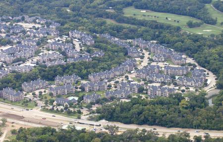 developed: Vista a�rea de las tierras desarrolladas en Dallas, Texas