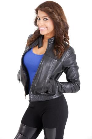 Pretty woman in black leather jacket