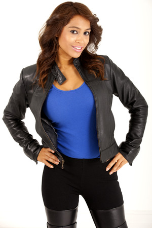 Pretty woman in black leather jacket