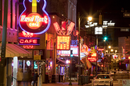 street life: The famous Beale Streetin Downtown Memphis, Tennessee. It is a significant location in the citys history, as well as in the history of the blues. Today, the blues clubs and restaurants that line Beale Street are major tourist attractions in Memphis
