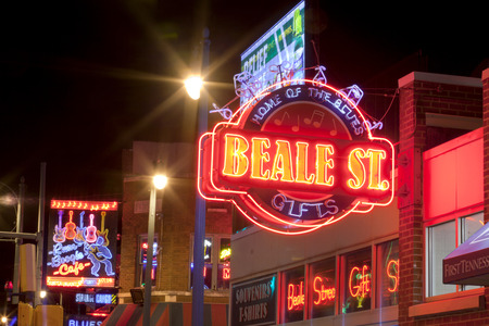 business sign: The famous Beale Streetin Downtown Memphis, Tennessee. It is a significant location in the citys history, as well as in the history of the blues. Today, the blues clubs and restaurants that line Beale Street are major tourist attractions in Memphis