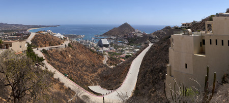 baha: Panoramic view of Cabo San Lucas, Mexico.  5 pictures were used to make this large image Stock Photo