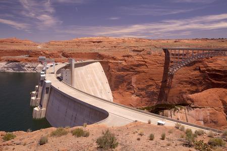 page arizona: The Glenn Canyon Dam at Page Arizona Stock Photo