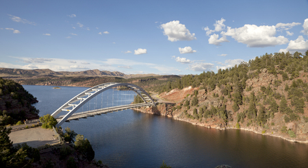 recreation area: Overlooking Cart Creek Bridge at Flaming Gorge National Recreation Area and the Flaming Gorge Reservoir within the Ashley National Forest.