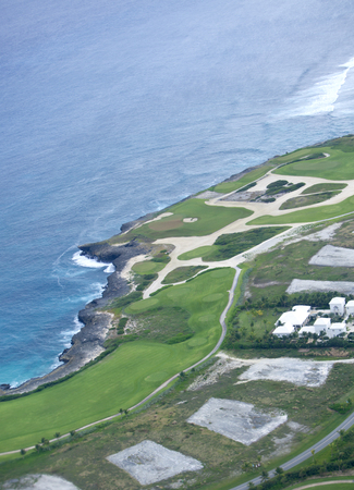 impervious: Aerial of a Golf Course next to Ocean Stock Photo