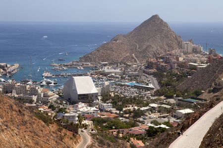 lucas: Aerial view of the marina district in Cabo San Lucas, Mexico.  Looking at Lands End (peak to the right)